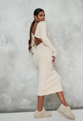 Missguided Stone Rib Cut Out Twist Back Midi Dress