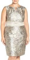Ellen Tracy Plus Size Women's Metallic Jacquard Sheath Dress