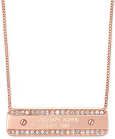 Michael Kors Pavé Crystal Logo-Plate Necklace, Only at Macy's