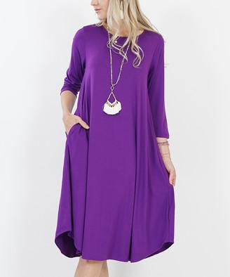 Lydiane Women's Casual Dresses PURPLE - Purple Three-Quarter Sleeve Pocket Midi Dress - Women