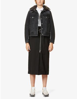 Sacai Contrast-panel shell and denim jacket