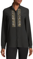 Etro Metallic-Embroidered Silk Blouse