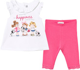 Mayoral White 3 Girls Print Tee and Leggings Set