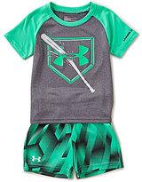 Under Armour Baby Boys 12-24 Months Breaking Bat Raglan Short-Sleeve Tee & Printed Shorts Set