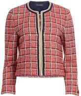 St. John Metallic Plaid Knit Cropped Jacket