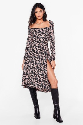 Nasty Gal Womens Grow Treat Yourself Floral Midi Dress - Black - 6
