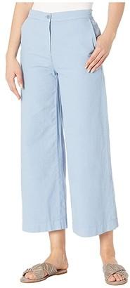 Eileen Fisher Organic Cotton Hemp Stretch Wide Leg Ankle Pants (Haze) Women's Casual Pants