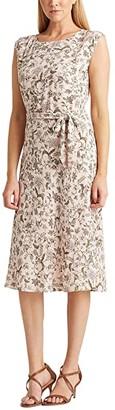Lauren Ralph Lauren Petite Floral Georgette Dress (Pink Multi) Women's Dress