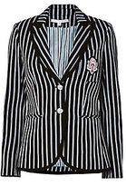 Veronica Beard Striped Notched Collar Blazer