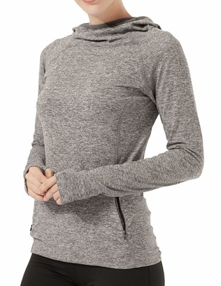 HMILES Women's UPF 50+ Running Pullover Hoodie Female Long Sleeve Outdoor Sports Cowl Neck Tee Shirts with Thumb Holes and Zip Pockets Grey L