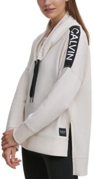 Calvin Klein Drop-Hem Cowlneck Fleece Top