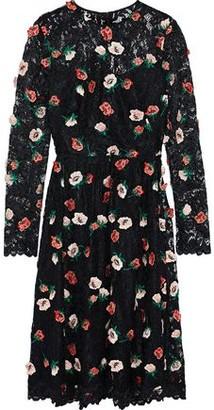 Lela Rose Floral-appliqued Corded Lace Dress