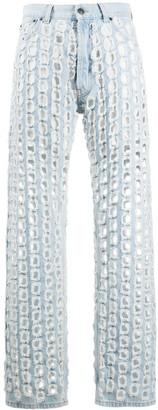 Maison Margiela Punch-Hole Detail Denim Jeans