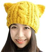 Rokou Women's Lovely Punk Cat Ear Hat Crochet Braided Knit Cap