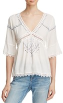Ella Moss Lace-Trimmed Gauze Top