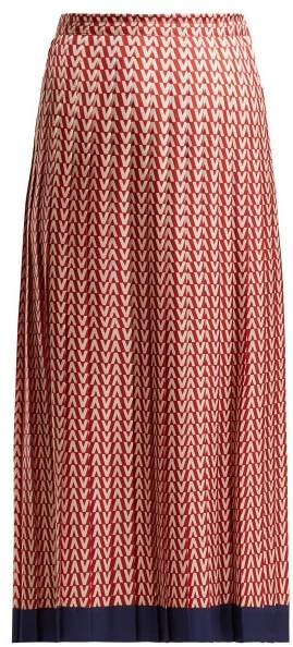 Optical Print Pleated Midi Skirt - Womens - Red Multi