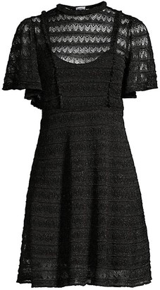 M Missoni Sheer Glitter-Knit Geometric Lace Dress