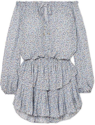 LoveShackFancy Popover Off-the-shoulder Ruffled Floral-print Silk-georgette Dress - Light blue