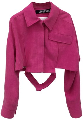 Jacquemus Pink Linen-blend Cropped Top