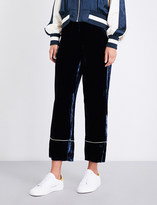 Mo&Co. Wide-leg cropped velvet trousers