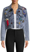 Alice + Olivia Women's Chloe Embroidered Cropped Denim Jacket