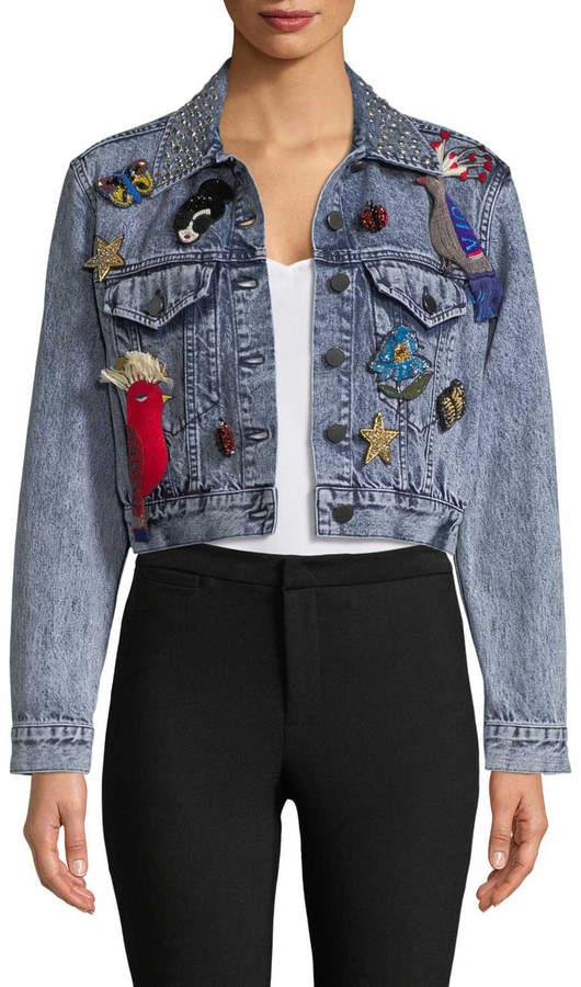 Alice + Olivia Women's Chloe Embroidered Cropped Denim Jacket