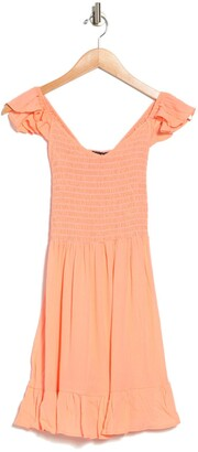 Luna Chix Flutter Sleeve Smocked Mini Dress