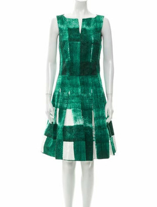Oscar de la Renta Printed Knee-Length Dress Green
