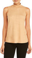 Cable & Gauge Mock Neck Faux Suede Tank