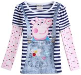 Tiful Peppa Pig Little Girls Spring Fall Long Sleeve Cartoon Soft Embroidery Embroidered Stripe Cotton T-Shirts