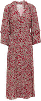 Thumbnail for your product : BA&SH Claire Ruffle-trimmed Printed Crepe Midi Dress