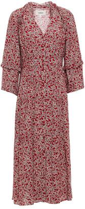 BA&SH Claire Ruffle-trimmed Printed Crepe Midi Dress