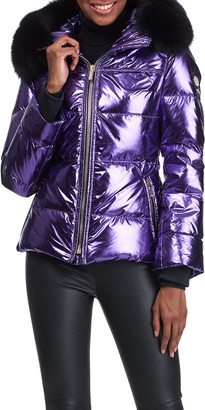 Gorski Metallic Apres-Ski Jacket With Detachable Fox Fur Hood Trim - 24""