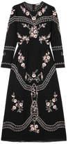 Vilshenko Darcel Embroidered Cotton-voile Midi Dress