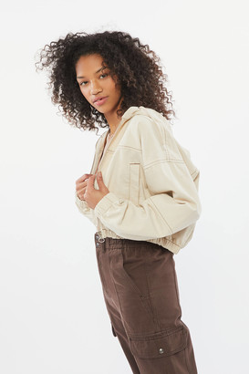 Urban Outfitters Twill Hooded Cropped Jacket