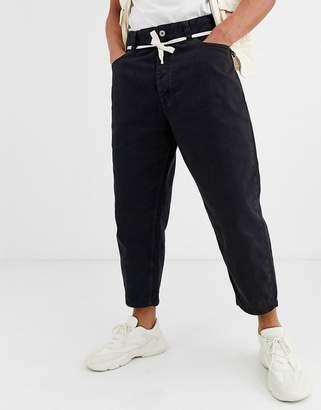 Bershka loose fit trouser in black