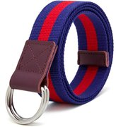 """VEASTI Mens Canvas Web Belt Military Style Fully Adjustable with Webbed Alloy Double D-Ring Buckle with genuine leather 7"""" Long 1.5"""" wide"""