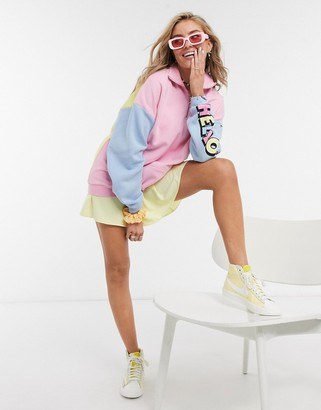 New Girl Order x Hello Kitty oversized polo sweatshirt in color block