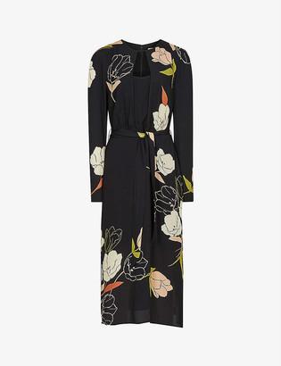 Reiss Arley floral crepe midi dress