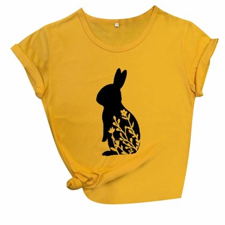 jerferr Women Rabbit Print O-Neck Tops Casual Short Sleeve Tee T-Shirt Blouse Yellow