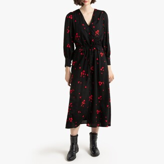 Heart Print Midi Dress with Long Puff Sleeves and Tie-Waist