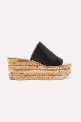 Chloé Camille Leather Wedge Sandals - Black