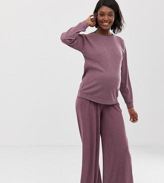 Asos DESIGN Maternity lounge ribbed wide leg pants