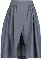 MSGM Bow-embellished cotton-chambray shorts