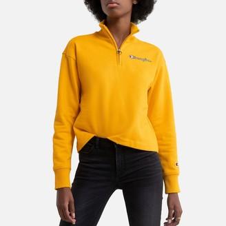 Champion Cotton Half-Zip Sweatshirt with Embroidered Logo and High-Neck