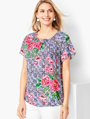 Talbots Off-the-Shoulder Blouse - Watercolor