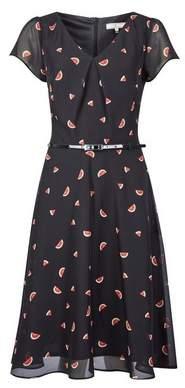 Dorothy Perkins Womens **Billie & Blossom Tall Black Watermelon Print Skater Dress, Black