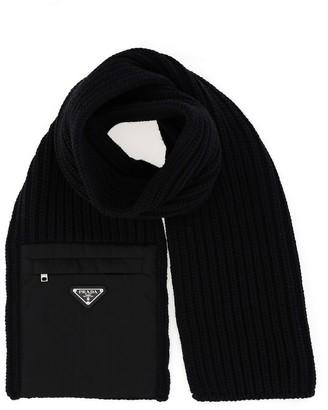 Prada Pocket Detail Knitted Scarf
