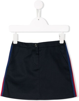 Gucci Kids Side Stripes Denim Skirt