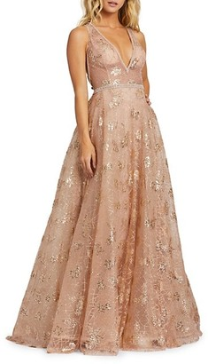 Mac Duggal Sequined Empire Ball Gown